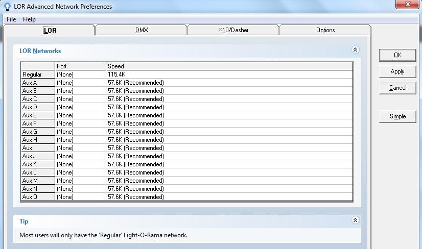 LOR Network Prefs LOR Tab After